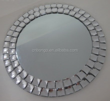 frameless round acrylic beaded wall mirror for home decoration