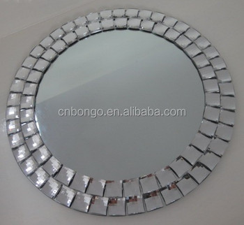 frameless round acrylic beaded wall mirror for home. Black Bedroom Furniture Sets. Home Design Ideas