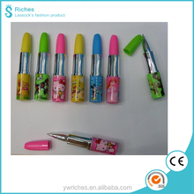 Yiwu Riches Plastic Cute Design School Favorite Lipstick Shaped Ball Point Pen Custom Logo