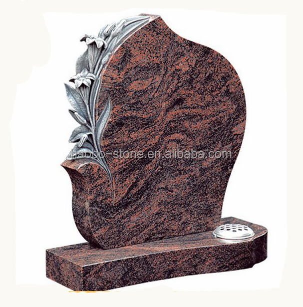 Haobo Stone Unique Design Flower Carving Upright Headstones