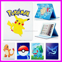 2017 Hot Sale Phenix-color Pokemon Go Premium Flip Stand PU Leather Shell Case for Apple Ipad Air/Ipads, Pokemon Cover for Ipad