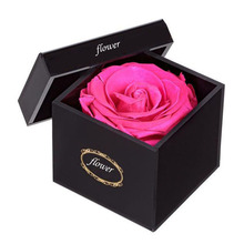 Black paper flower box round luxury flower gift box packaging