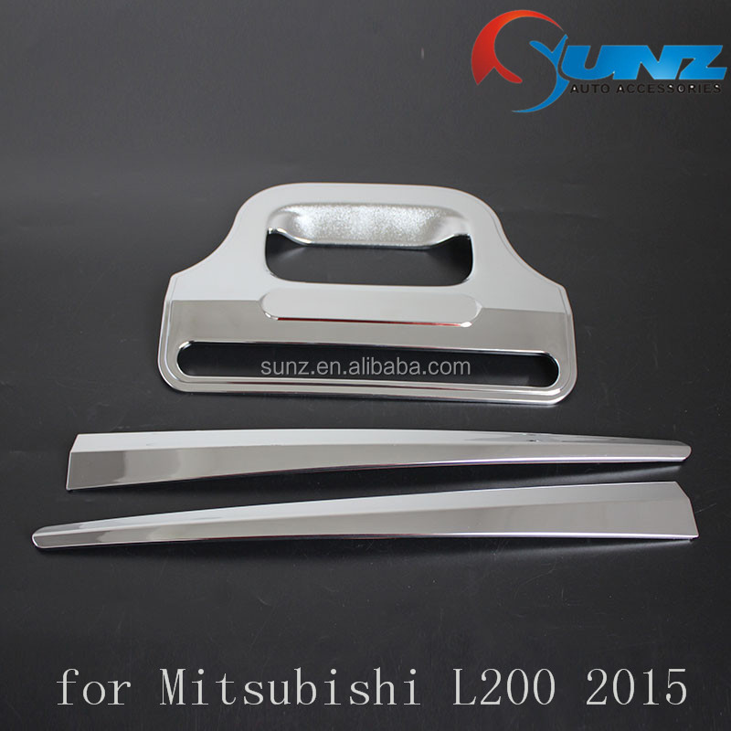 ABS plastic chrome tail gate cover for Mitsubishi <strong>L200</strong> Triton 2015 Thailand rear gate insert car accessories