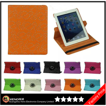 Keno Luxury Crystal Diamond Bling Flower Ultra Slim Portable 360 Degree Rotating Flip Folio PU Leather Case for iPad 2 3 4