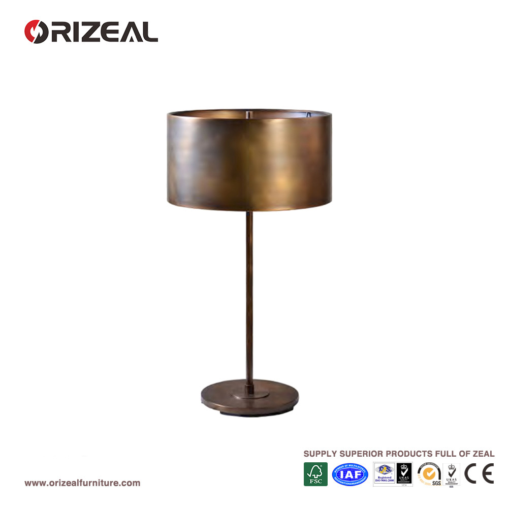 UL CE Listed Traditional Design Hotel Metal Drum Table Lamp In Brass Finish OZ-AL710