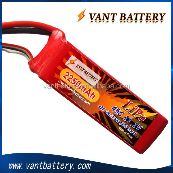 lipo battery manufactory 11.1v lipo battery 45C 2250mah 3S soft case rc lipo battery for rc heli