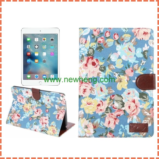 for iPad Mini 4 Flower Cloth Magnetic Flip Stand PC + PU Leather Case