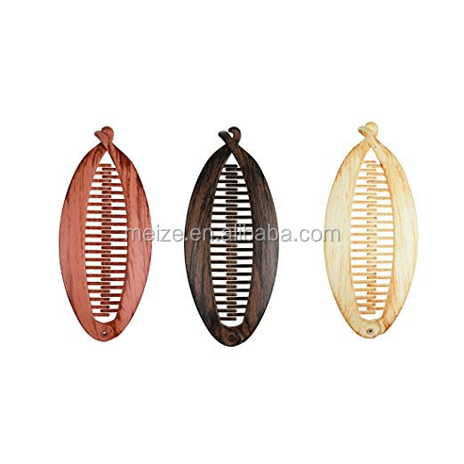 New Design 5 inch Wood Look Thick plastic claw Hairclip for women girls