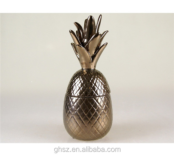 Made in china bronze-colored pineapple ceramic candy jar with lid