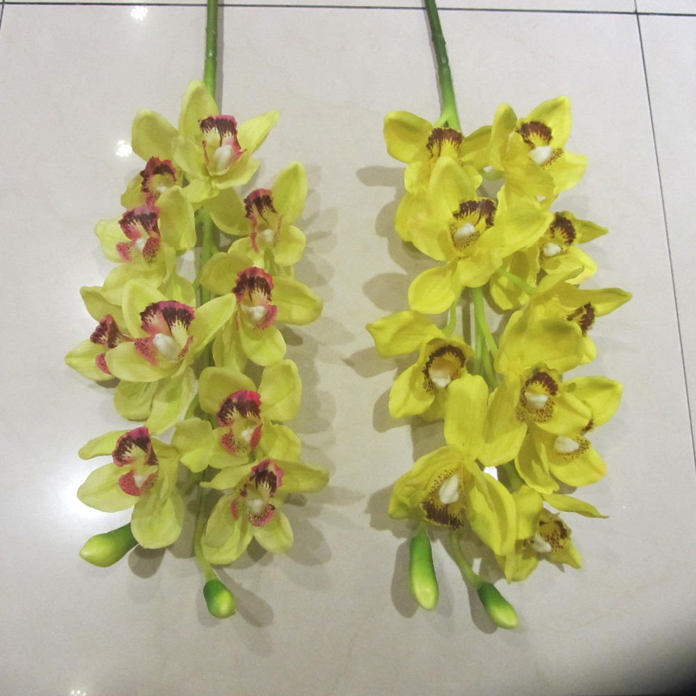 wholesale yellow artificial silk phalaenopsis orchid spray
