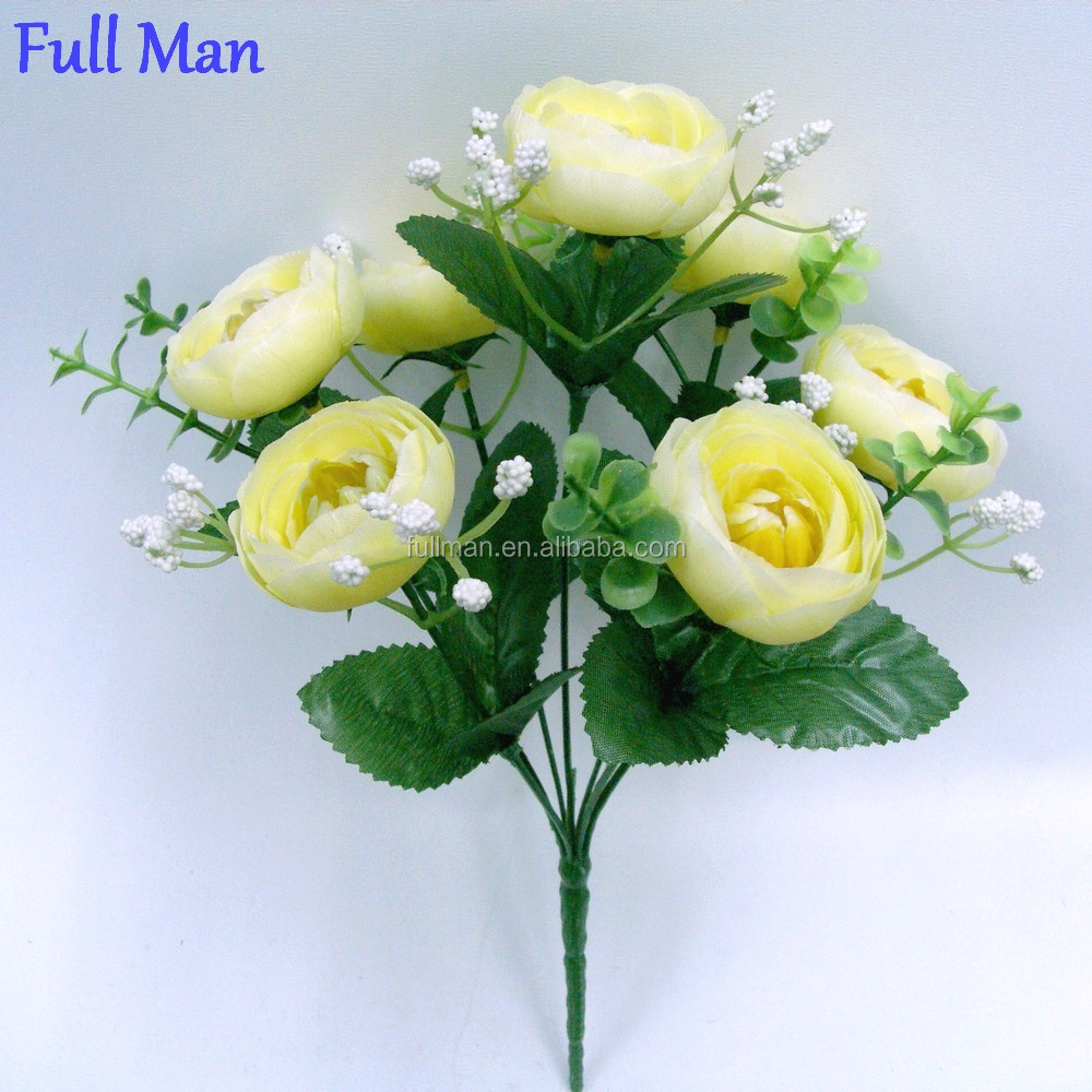 Artificial Flowers Bunch H30cm Yellow Silk Ranunculus