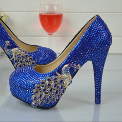 BS034 Rhinestone Wedding Shoes Royal Blue Spring Autumn Party Shoes Anniversary Party Prom Heels Big Size 45