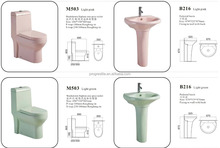 colored washdown/siphon one-piece toilet and pedestal basin sink