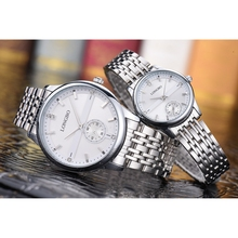 New design 2017 calendar watch hot selling fashion diamond alloy case stainless steel band couple wrist watch for men and women
