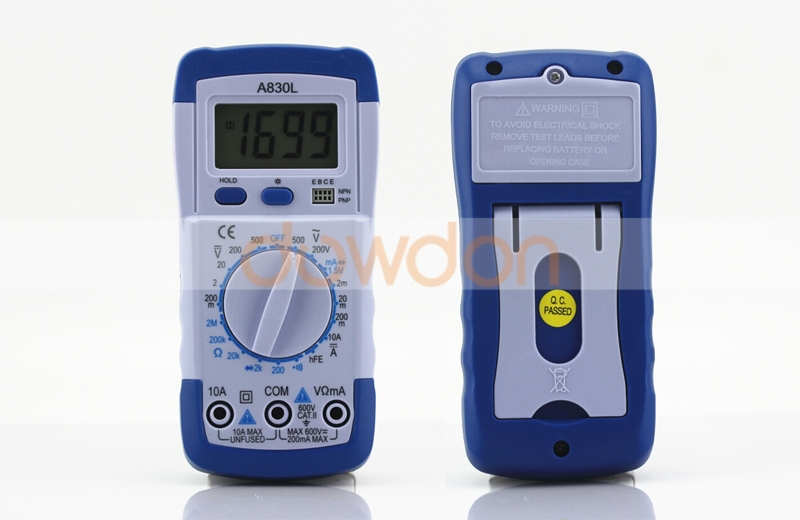 DMM Digital Multimeter A830L Ammeter Multitester Voltmeter Megohmmeter Ohmmeter hFE Current Tester w/ LCD Backlight