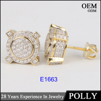 Latest design 10K gold diamonds jewelry two tone hip hop stud earring for women