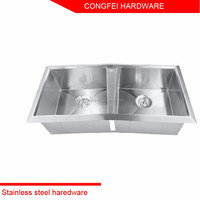 Guangzhou factory european style double bowl stainless steel kitchen sinks