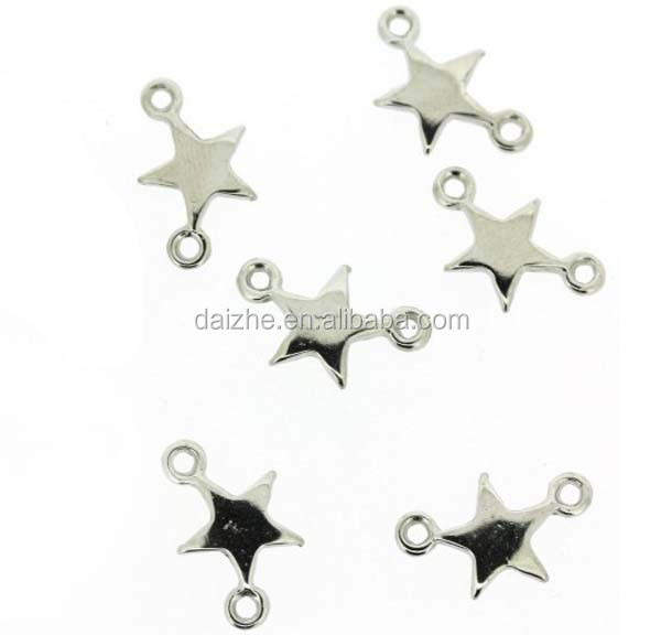 high quality rhodium plating 925 sterling silver tiny star <strong>charm</strong>