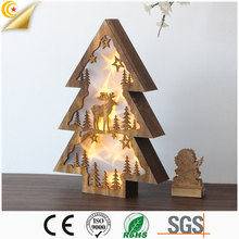 Hot sale christmas decoration wooden mini christmas tree with led light