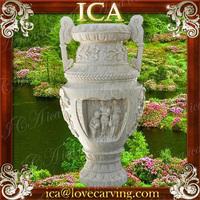 Outdoor garden natural marble stone antique stone pot
