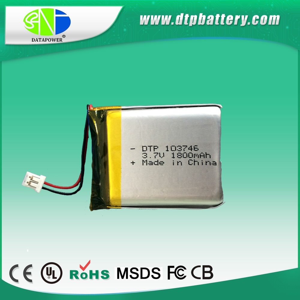 rechargeable 3.7v li-ion polymer battery 1800mah 103450 with OEM service