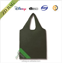 customized color 190D polyester foldable bag with drawstring pocket