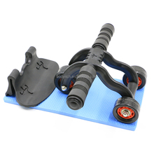 3-wheels Ab Roller Trainer Muscle Training with Knee Mat and Braking Board - Abdominal, Core ,Arms