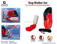 DOG WALKER'S SET/ RETRACTABLE LEASH & WATER BOTTLE/BOWL