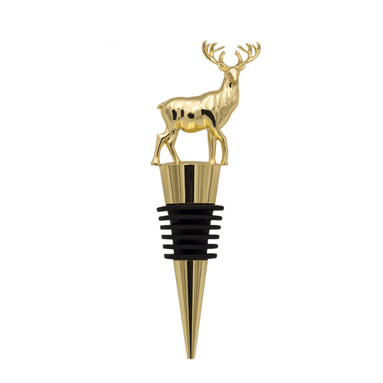 Home decoration metal animal shaped top deer branded wine stoppers stocked SGS monogram red wine bottle stopper