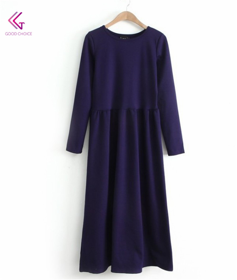 2015 New Arrival Fashion Temperament Women Clothing Dresses O-Neck Long Sleeve Mid-Calf Length Solid Color Waist Dress FW233