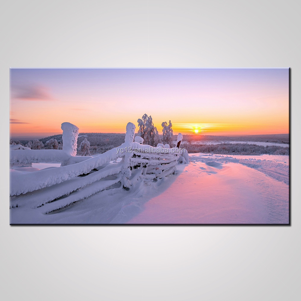 Wholesale handmade original screen Print textured snow scenery oil painting