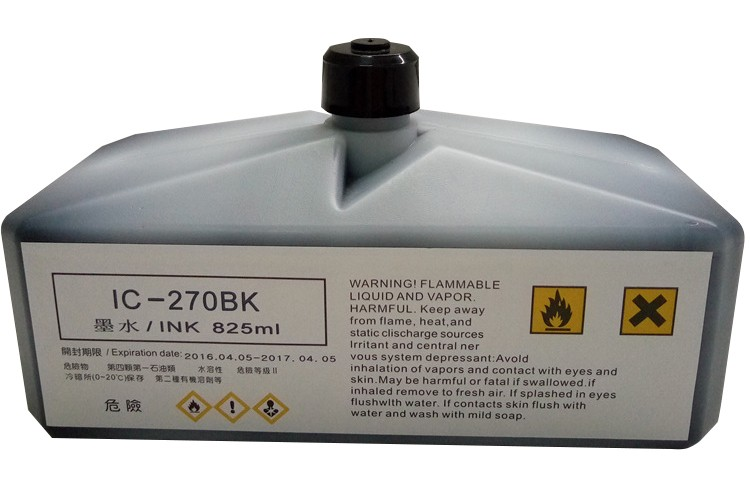 IC-270BK 825ML Industrial Water Marking Solvent Based Inks for Domino CIJ Printer