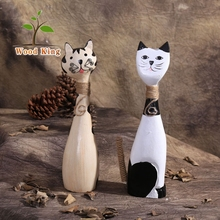 Zakka Groceries Wooden Handicraft Creative Cute Couple Kitten Dongyang Wood Carving Pieces Luxury Home Decoration