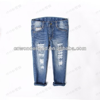 destroyed funky denim jeans pants baby disdressed jeans denim hot pants trousers kids biker jeans