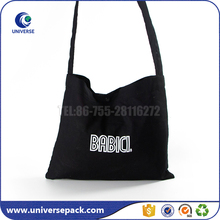 Custom logo high quality black cotton canvas shoulder bag on sale