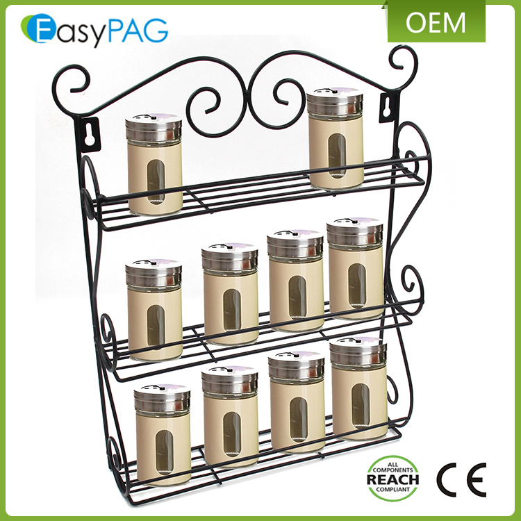 Kichen storage wall mounted metal iron magnetic spice rack