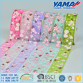 Crazy selling colorful flower sheer printed double face wired organza ribbon