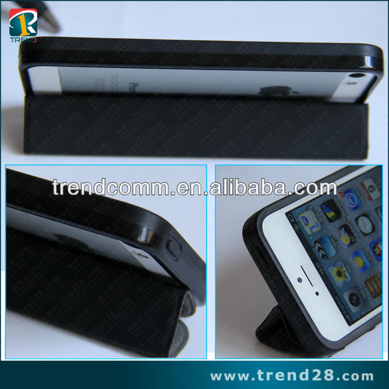 newest smart leather +tpu bumper case for iphone5 with fold and stand design