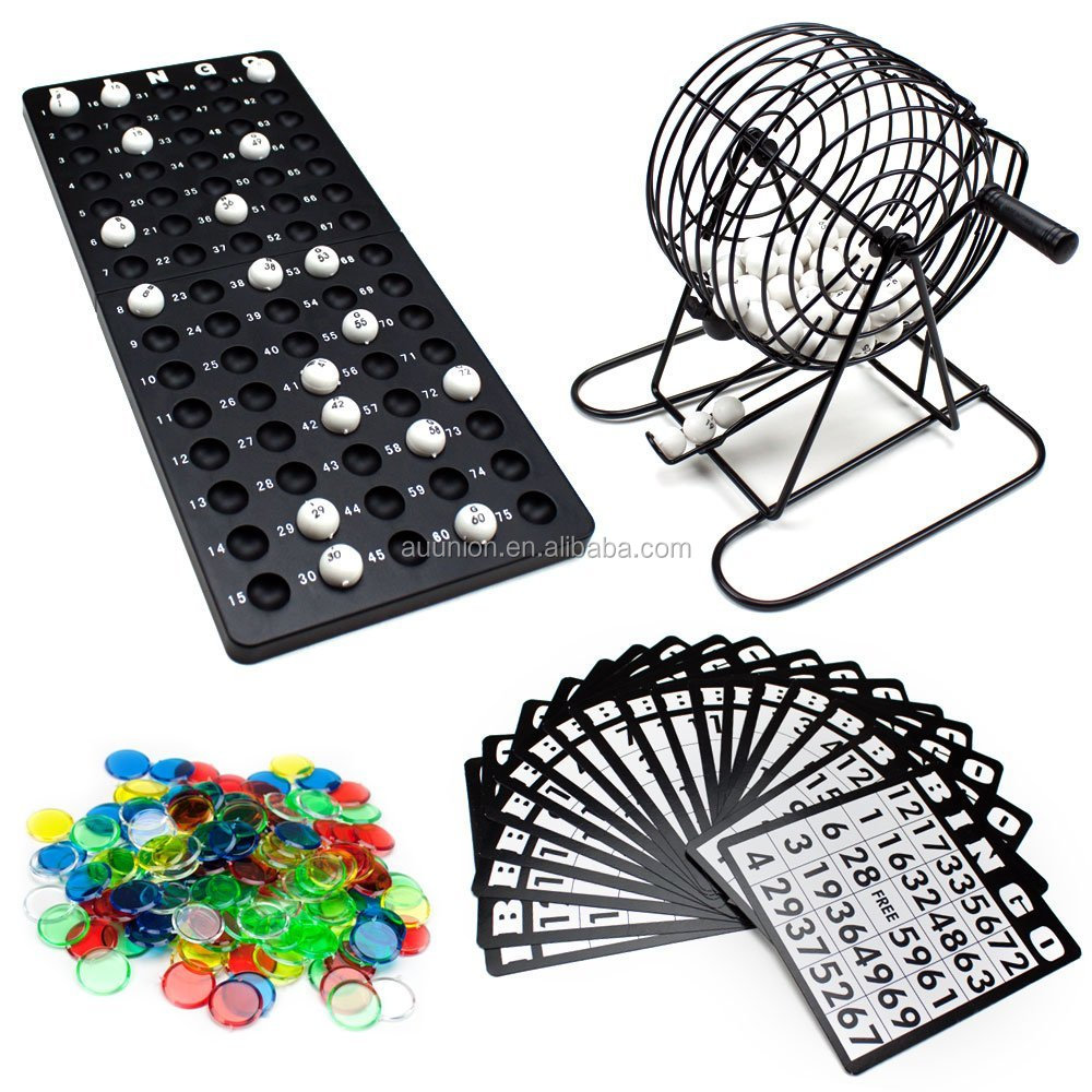 Bingo game set Deluxe 6-Inch Game with Colored Balls, 180 Bingo Chips and 18 Bingo Cards With Rotary Cage