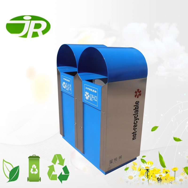 metal waste bin containers dustbin with inner bucket for public space