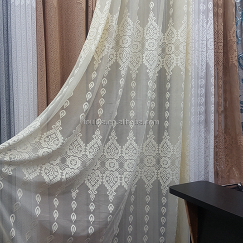 Factory wholesale jacquard net fabric net curtains sheer fabric for curtains