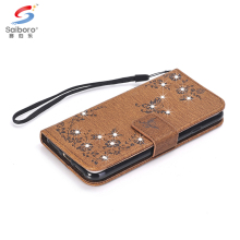 Folding diamond leather flip phone case cover for iphone 8 7 plus 7 6 plus 6 5 with lanyard