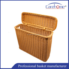Washable handmade PP rattan luandry basket with lid , Tissue paper basket