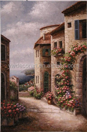 Brush Work Handmade Mediterranean Landscape Oil Painting On canvas