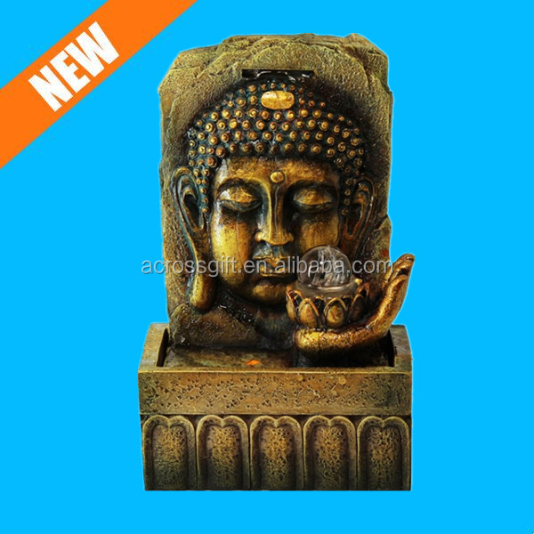 golden lucky polyresin tabletop waterfall buddha fountain