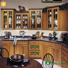 100% Shaped Modular kitchen cabinet with precut grey granite countertops,grey granite countertop with antique wood cabinet