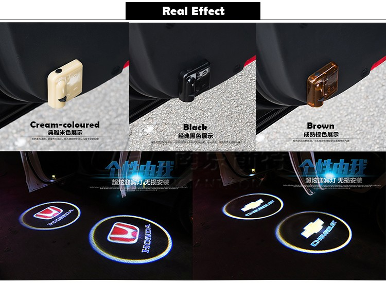 2pcs Wireless Universal Car Projection LED Projector Door Shadow Logo Light Welcome Lamps Courtesy Lights Kit Magnet Sensor