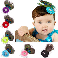 New Infant Baby Toddler Rose Flower Peacock Feather Headband wh-1396
