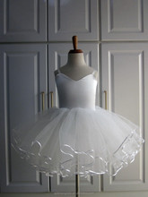 White Ballet Tutu <strong>Dress</strong> made of Chiffon Tulle with Satin Top for <strong>Girl</strong> Christmas Birthday Holiday Dancing Party Tutu Skirt SH9016