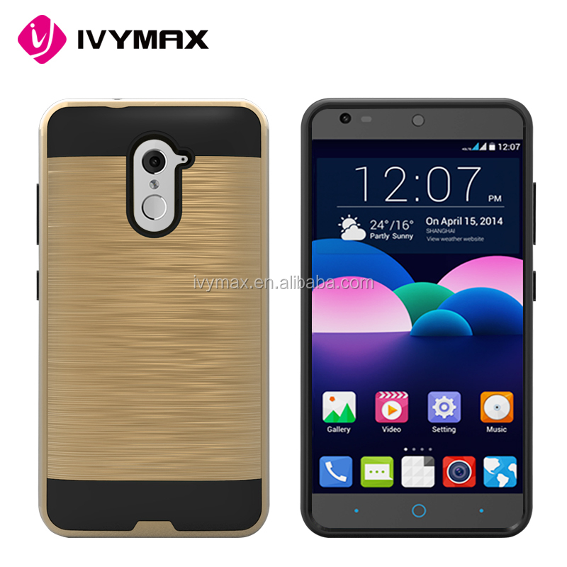 Factory free sample cell phone case hair line brushed metal motomo combo case for ZTE Z988 Z963U